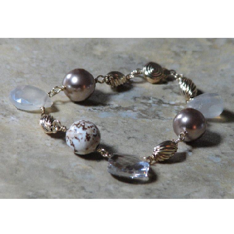 Wire Wrap Bracelet wtih Swarovski Pearls, Pearl Chalcedony, and 14 Karat Gold-filled Wire