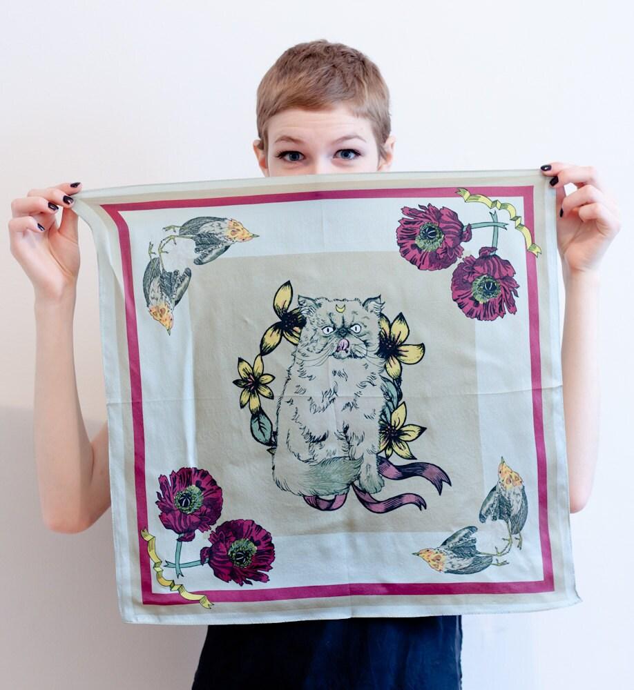 """printed silk scarf - artemis - 21"""" x 21"""""""