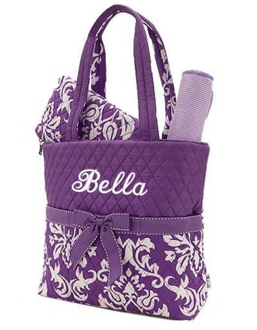 Diaper Bag Personalized Damask Purple White Monogrammed Quilted