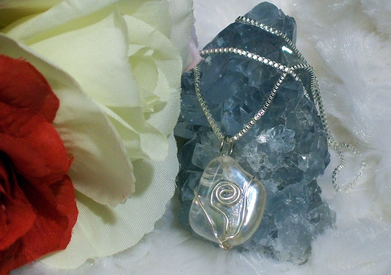 Sterling Silver Angel Aura Crystal Necklace
