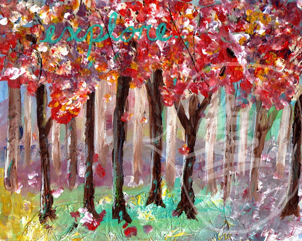 Colorful Tree Painting - Mixed Media - Explore - 8x10 Original Painting - Bright - Happy - Colors