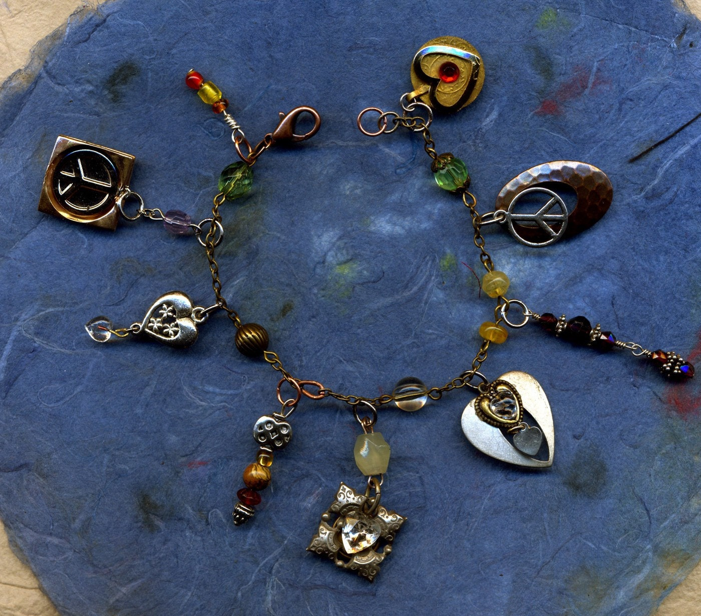LOVE AND PEACE    a Charm Bracelet for Making Change