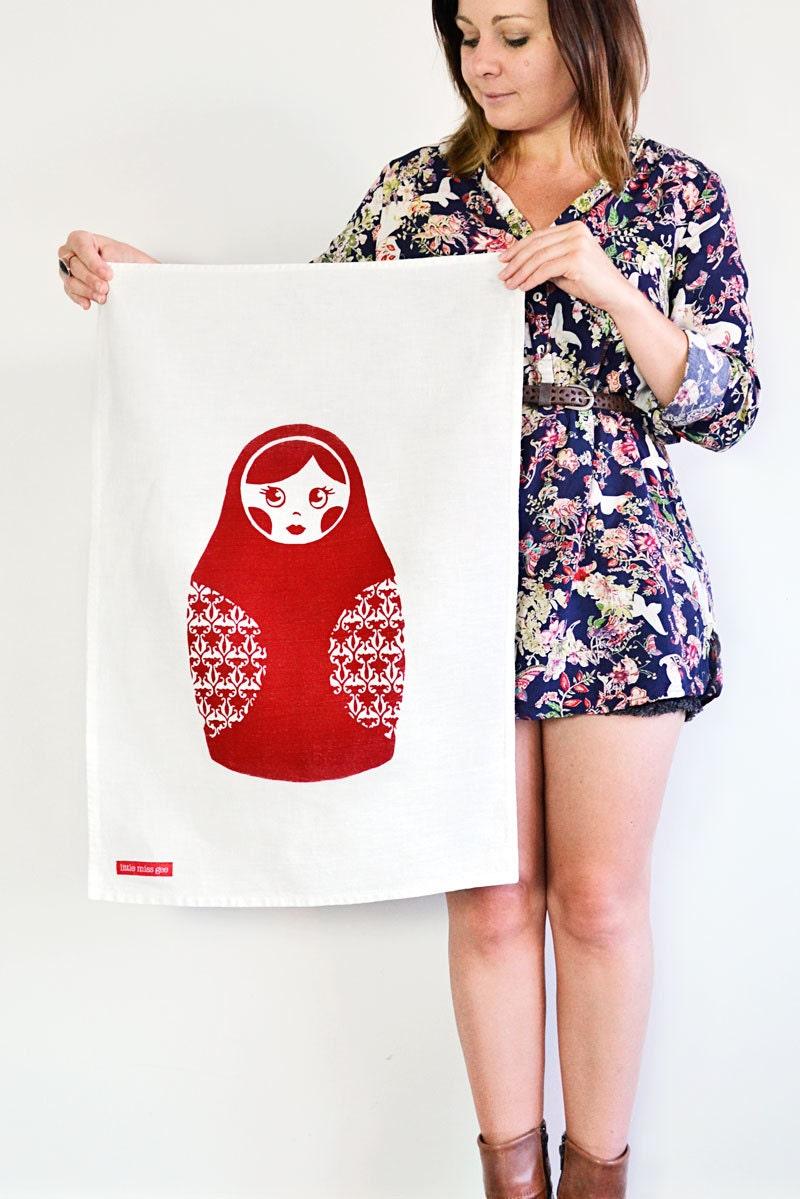 BABUSHKA - Screen Printed Kitchen Tea Towel in Red - littlemissgee