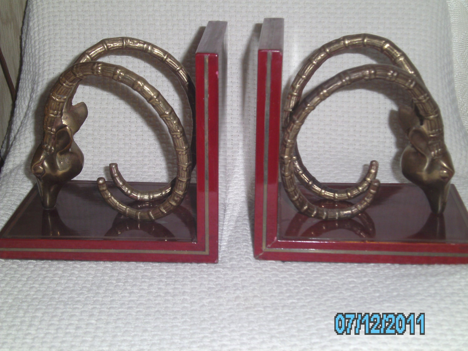 Vintage HOLLYWOOD REGENCY Mid Century Modern Solid BRASS Gazelle Bookends