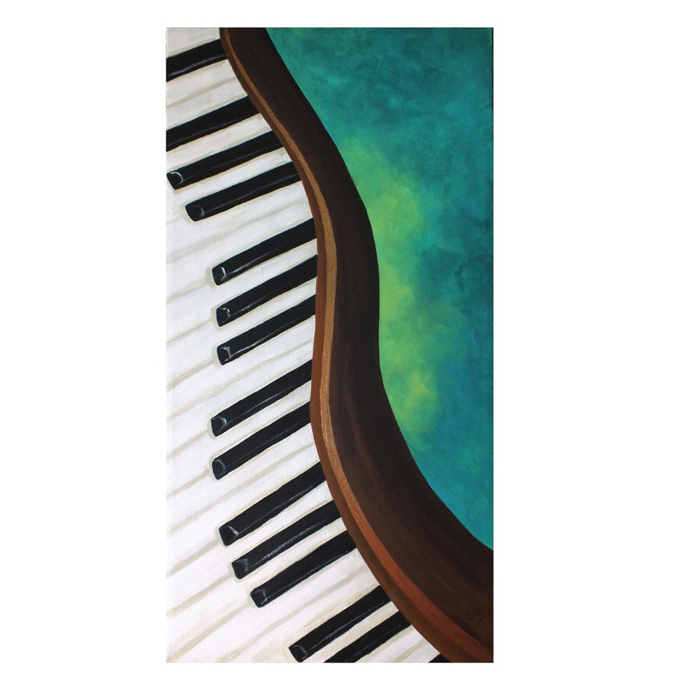 DANCING PIANO No.2, 12x24 Acrylic Canvas, Home Decor Wall Art, Music Themed Painting - nJoyArt