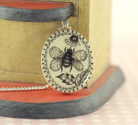 Pendant. Miniature Original Drawing Pendant with Delicate Ball Chain.