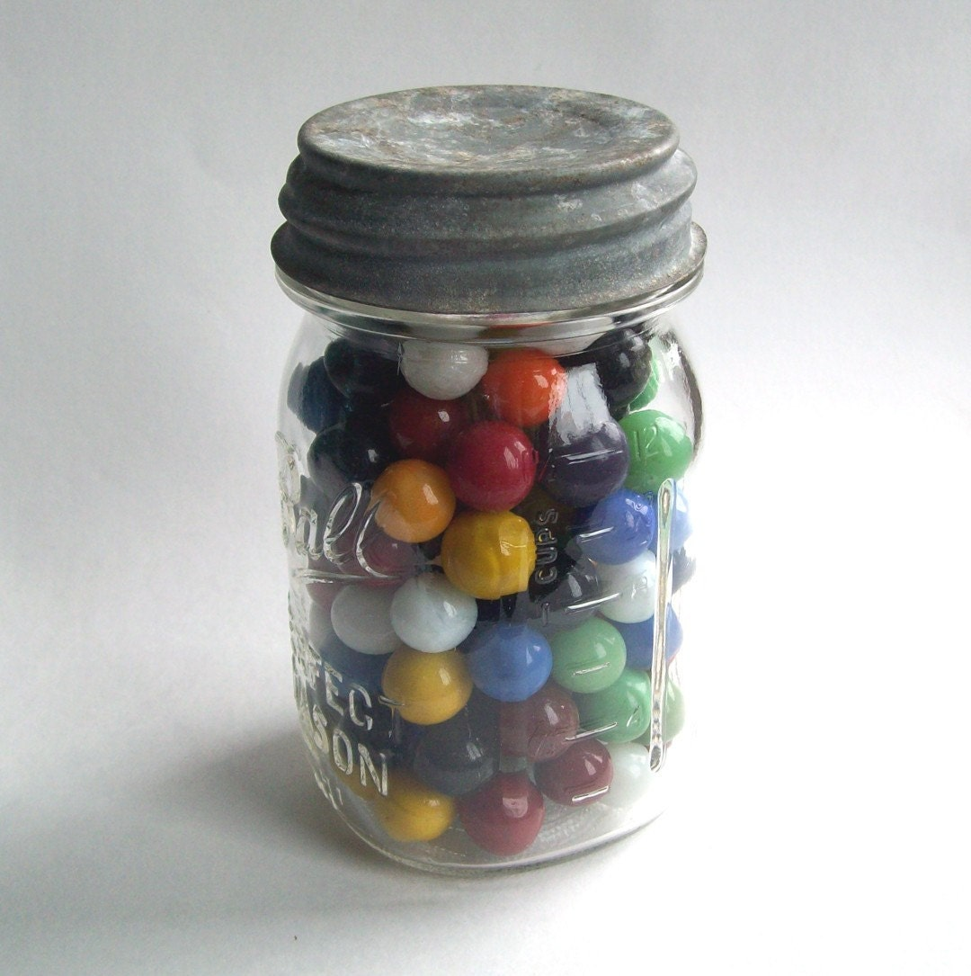 Solid Color Marbles : Solid color marbles in a ball jar by midwestfinds on etsy