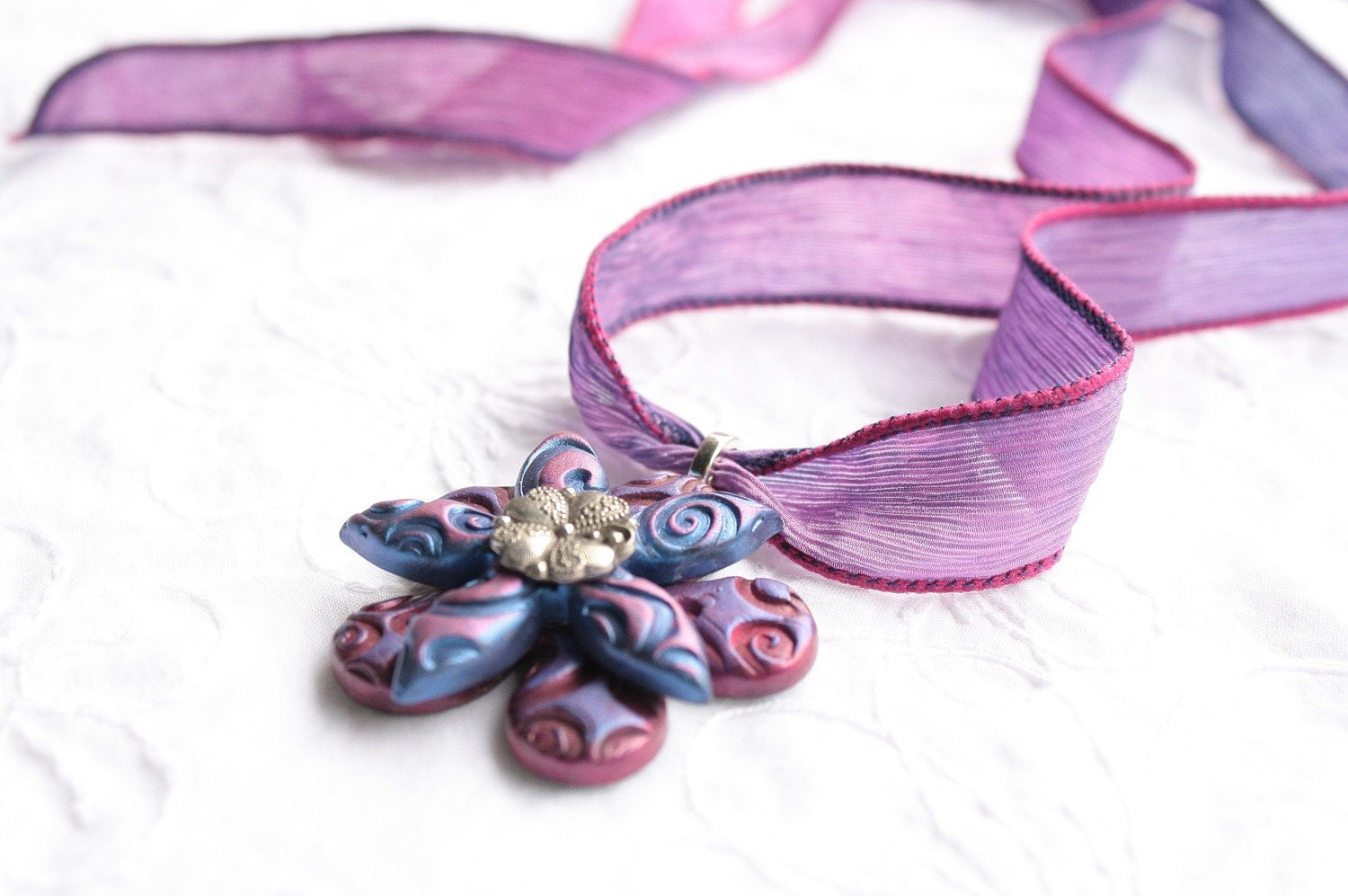 Flower Necklace Lavender Fuschia Purple