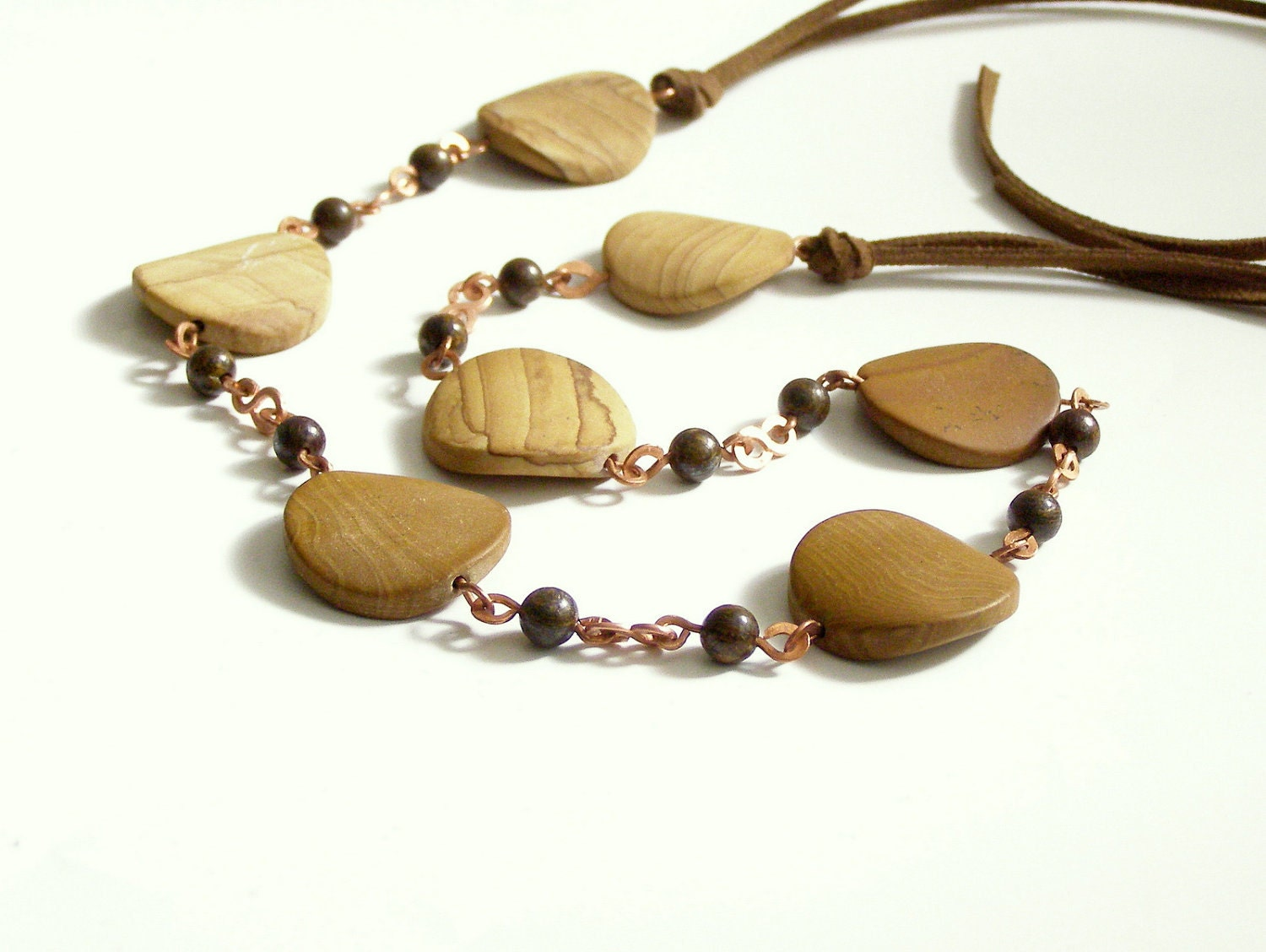 Wood Jasper, bronzite and copper elements handmade in Israel MADE TO ORDER