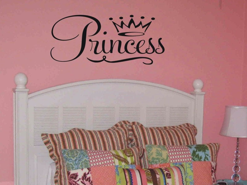 large princess with crown wall decal girls bedroom by vgwalldecals. Black Bedroom Furniture Sets. Home Design Ideas