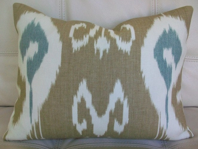 Decorative Designer Lumbar Pillow Cover 14x18 - ECHO Design for Kravet - IKAT Print Taupe and Aqua