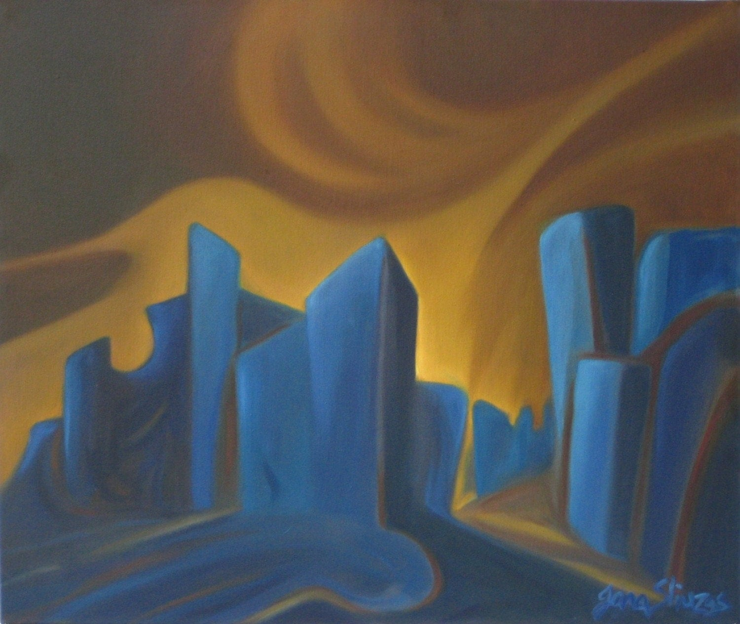 DOWNTOWN BEAT-oil on canvas expressionistic cityscape painting blue navy gold brown-21.5 X 25.5 in. by Jana Sliuzas -Free Shipping