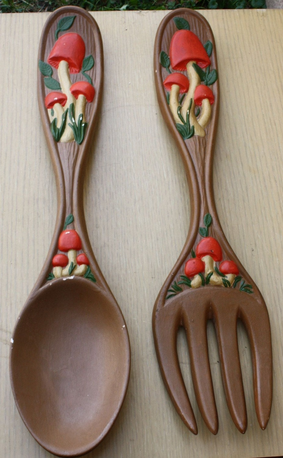 Vintage Mushroom Spoon And Fork Wall Decor By