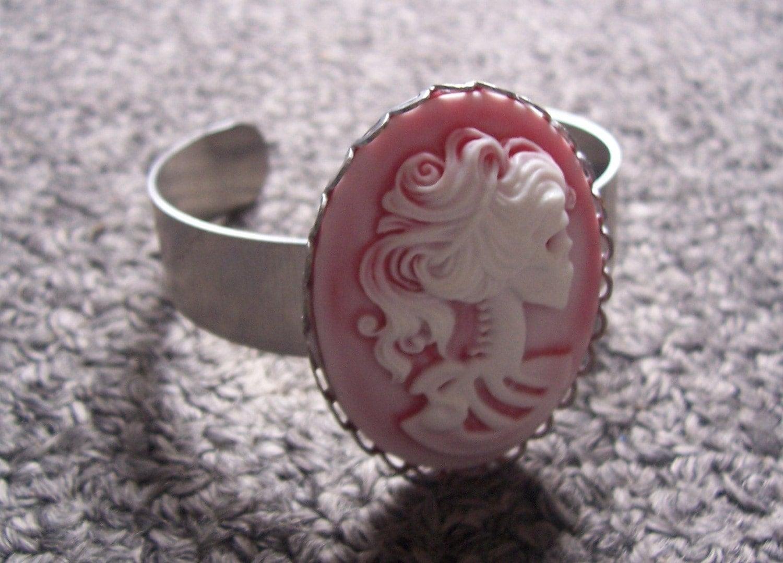 Pink 40x30 Cameo Bracelet 1/2 inch aluminum cuff