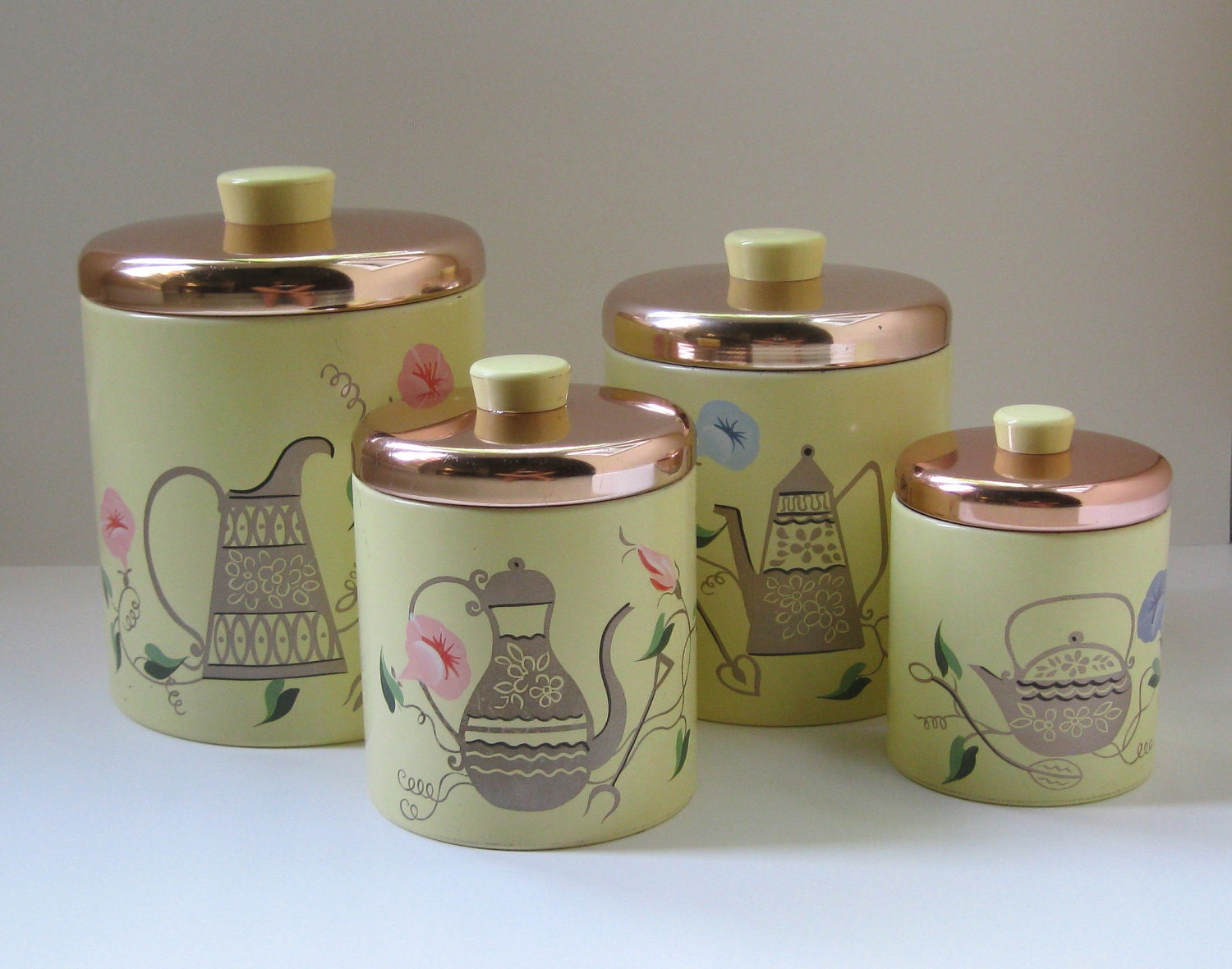kitchen canister set cottage chic decor by thevintageresource
