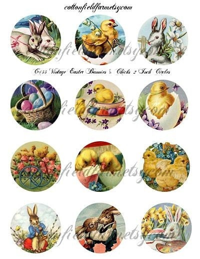 easter bunnies and chicks. Vintage Easter Bunnies and Chicks 2 inch Circles Digital Collage C-155 for Cupcake Toppers,Tags, Scrapbooking, Journaling Spots, Mini Tag Books, Decoupage