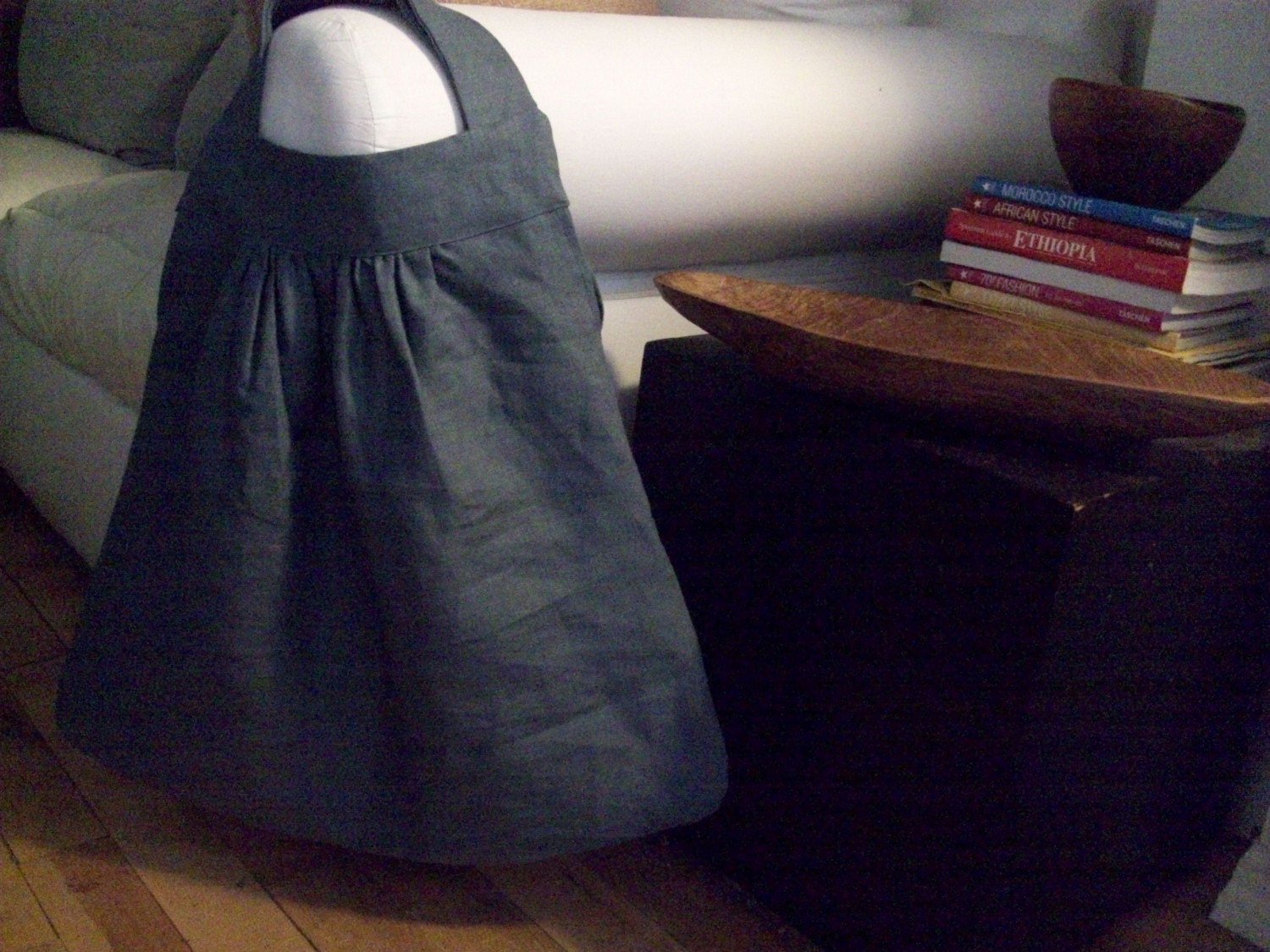 Large Linen Charcoal Gray Slouch Bag