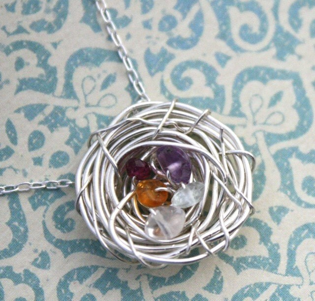 Nest - birthstone . sterling silver