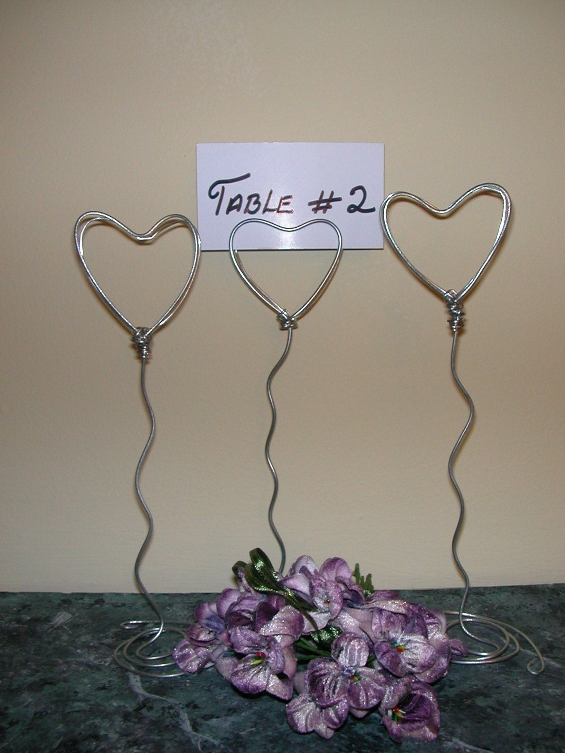 10 Table number Card Holders/ Menu / Place Card holder  - 7 inch / Valentine (SILVER WIRE HEARTS)