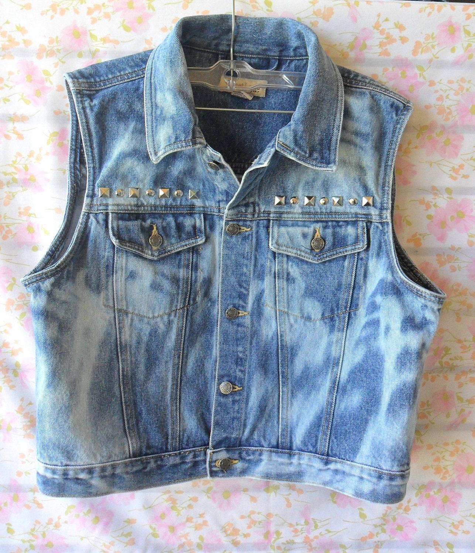Vintage Blue Denim Vest- Bleached --Studded - Size M-L