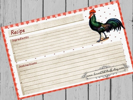 rooster recipe cards 4x6 country kitchen by lovesoldstuff