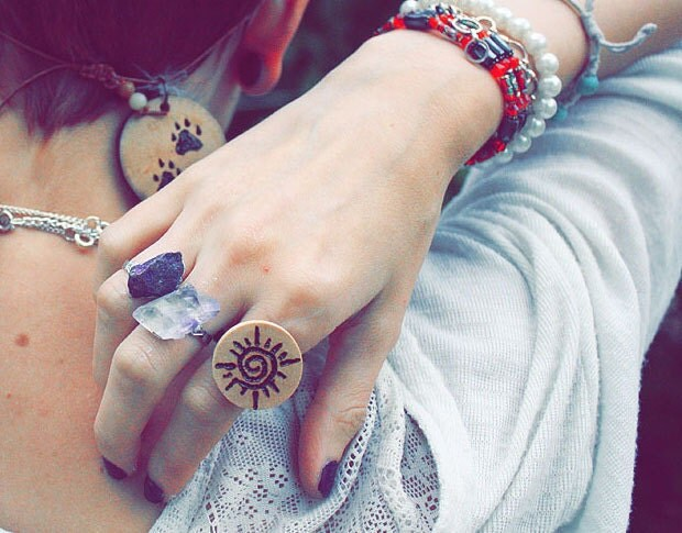 Burned Sunshine Ring With Copper Adjustable Backing
