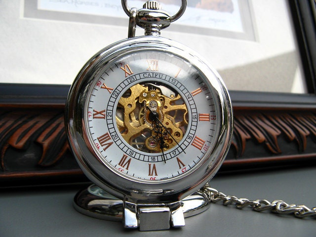 OUT of STOCK until est. June 22nd - 19th Century Silver Mechanical Pocket Watch with View Window with Watch Chain - Item MPW54