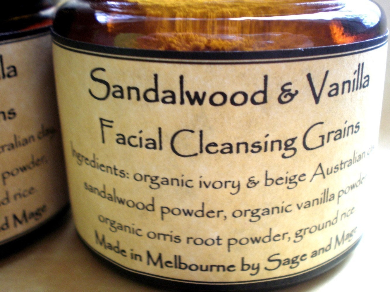 SANDALWOOD and VANILLA - facial cleansing grains - all natural, vegan