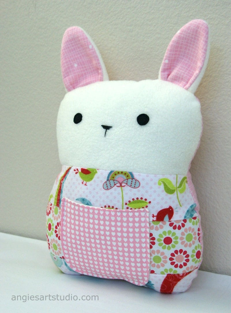 Patchwork Bunny Tooth Fairy Pillow Plush Stuffed Toy - Great Baby Girl Gift - Lovebirds in Pink - angiebabygifts