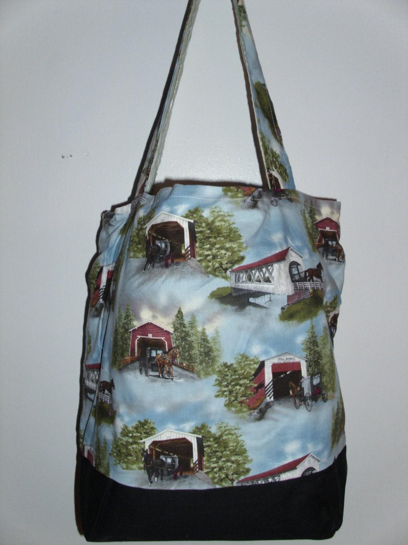 Handmade Diaper Bags : Handmade tote bag diaper covered bridge themed by