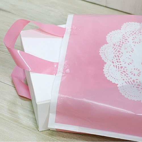 4 Lace Doily Printing Pink Bags - (S)250 x 280 x 80mm