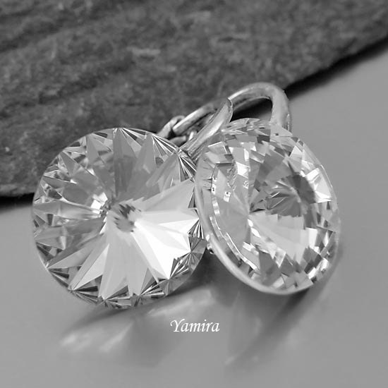 Small Earrings Swarovski Rivoli Crystal 12mm Sterling Silver Classy Jewelry Silver Metallic - yamira