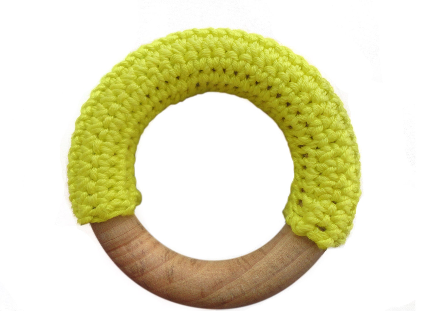 Crochet covered natural wooden baby teething ring  teether (lemon yellow)
