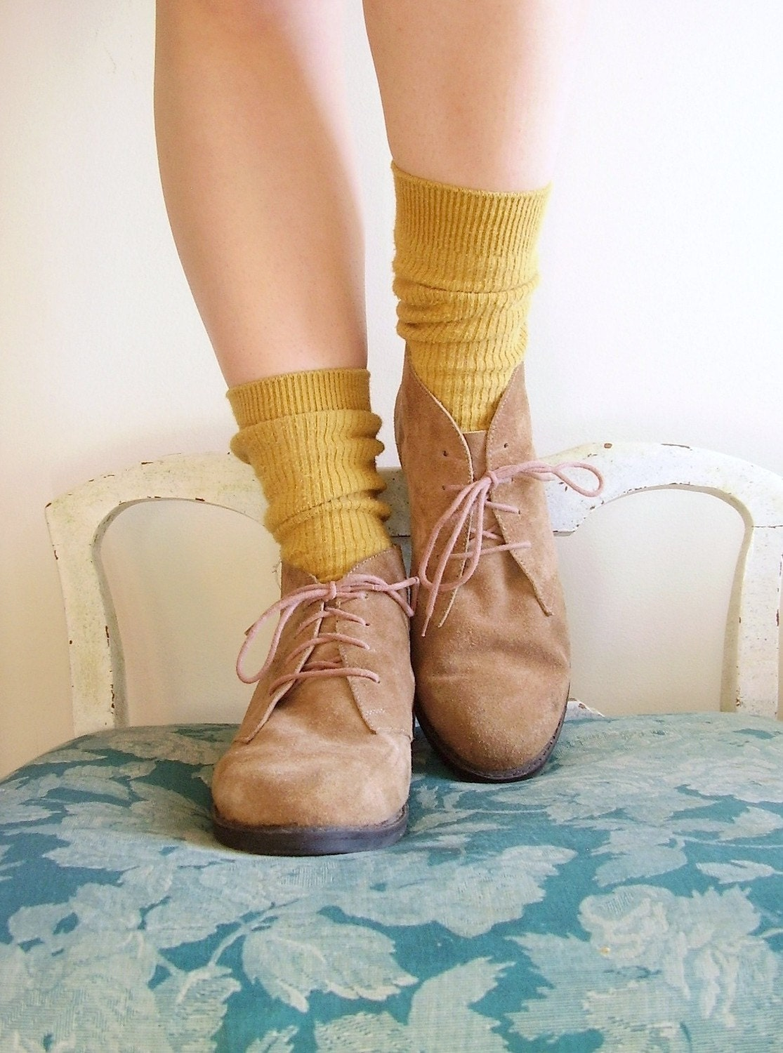 Almond Suede Vintage Leather LACE UP Ankle Boots 9 Womens