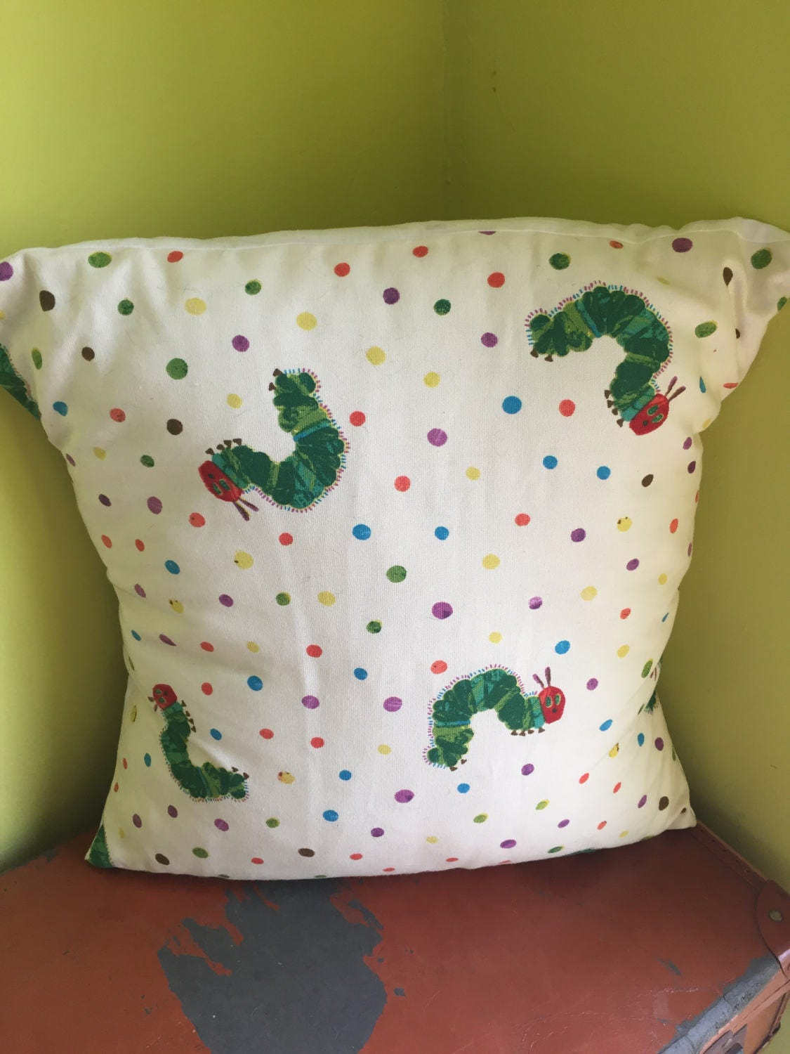 Hungry Caterpillar Cushion With Insert  Book Lover  Teacher  Library  Reading  Book Corner  Childrens Room  Eric Carle