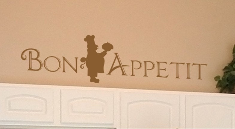 Bon Appetit with Italian Chef - Vinyl Wall Decals Stickers Art Graphics Words Lettering