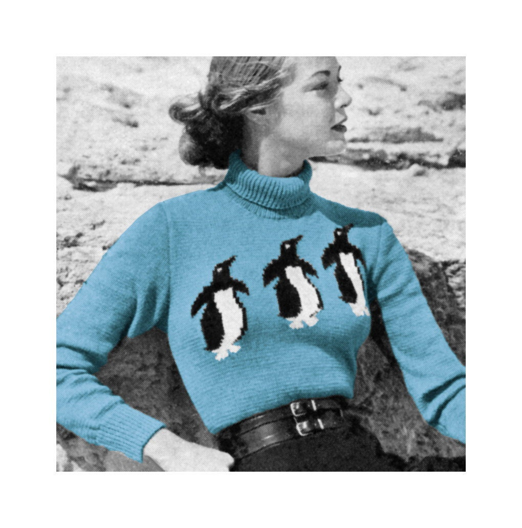 Knitting Pattern For Penguin Sweater : 1950s Vogue Knitting Pattern Penguin Ski Sweater di 2ndlookvintage