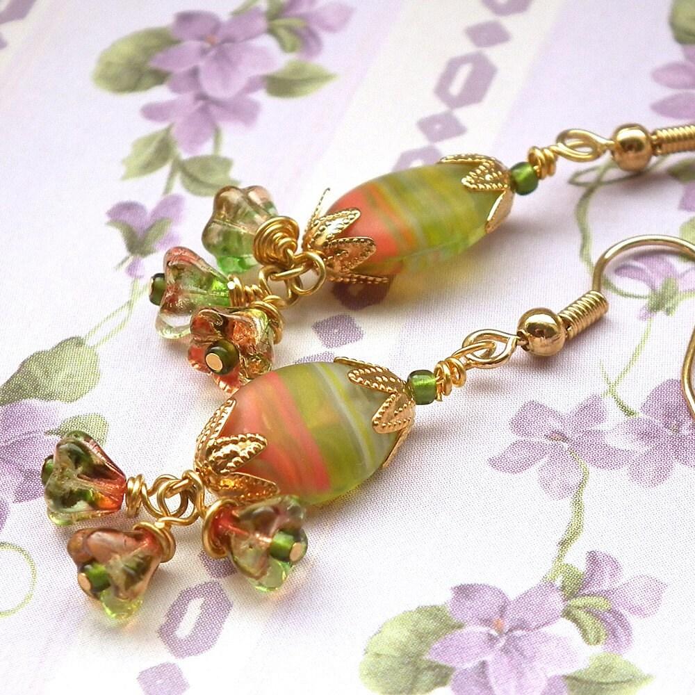 Green and Orange Striated Glass Bead Goldplated Earrings