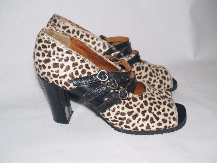 40s Style Peep Toe Leopard Print Platform Heel Mary Jane Pumps Size 9