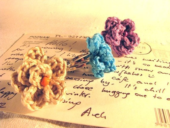 Crocheted pink, purple, turquoise, beige, red, colorful pastel flower rings, elegant and timeless