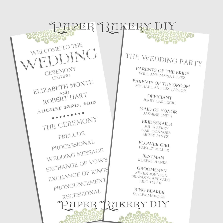 printable wedding program templates .