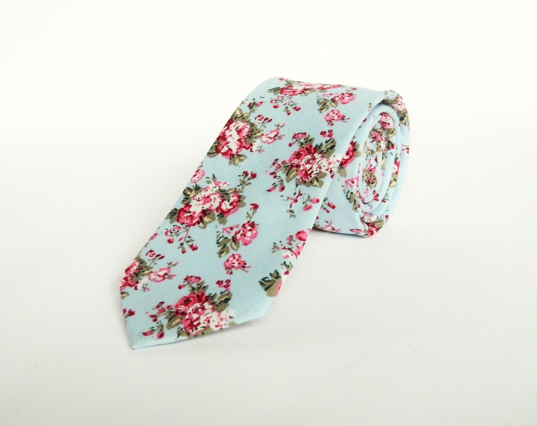 Floral tie mens blue floral wedding tie gift for men skinny blue tie groomsmen Uk