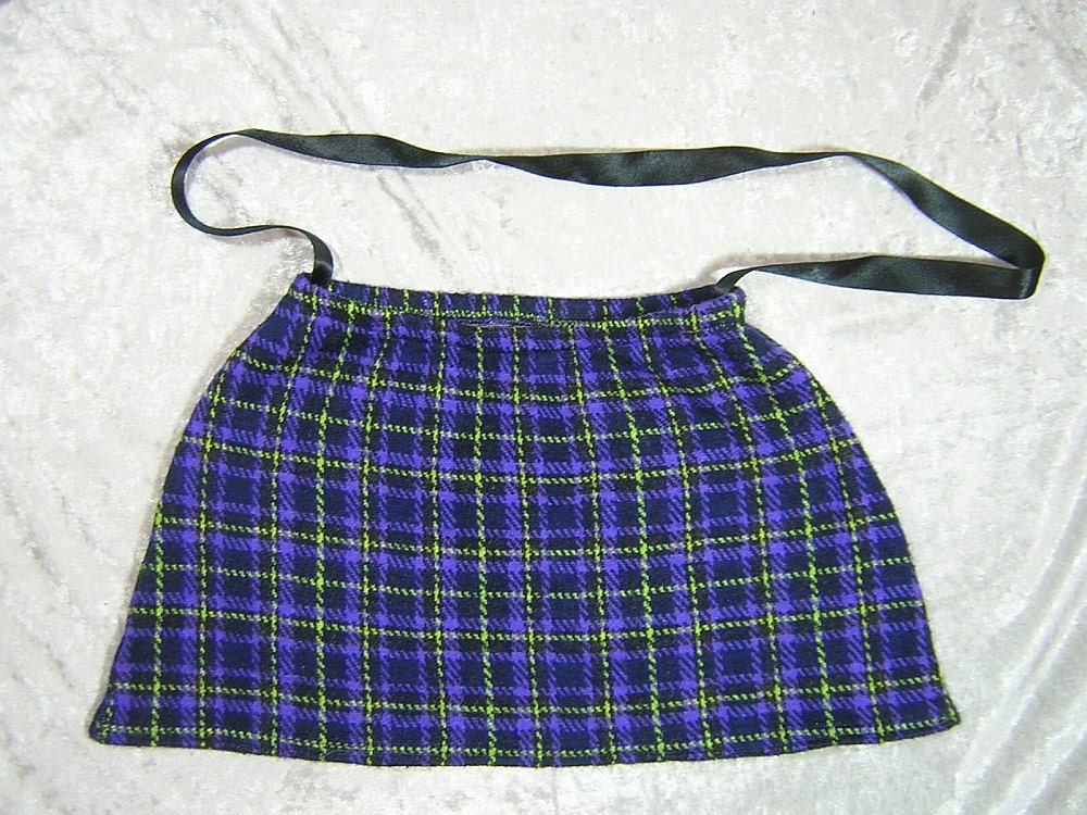 Purple, Black, and Lime Green Plaid Upcycled Skirt Bag - Handmade by Rewondered D201P-00005 - $19.95