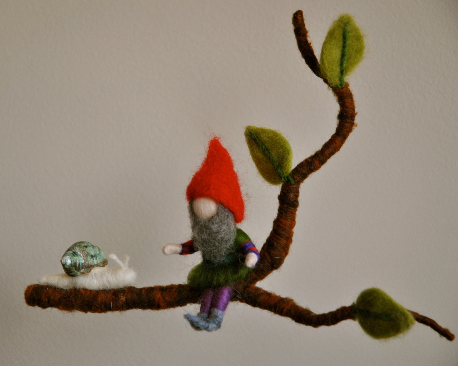 Children Mobile Waldorf inspired needle felted : Gnome and snail in a branch - MagicWool