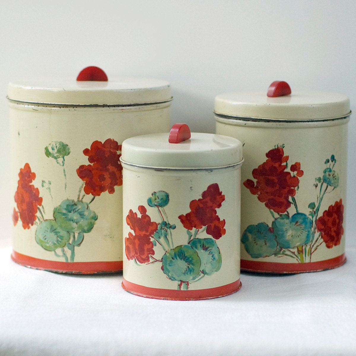 metal canister set bakelite handle floral vintage by my3chicks