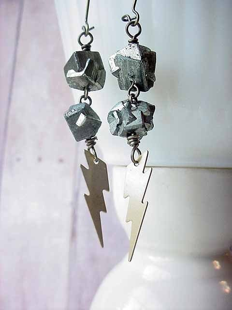 Lightning Bolt and Pyrite Nugget Earrings - Shazaaam
