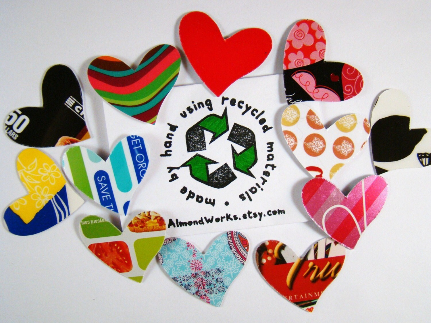 Heart Shaped Embellishments made from Reclaimed Gift Cards  (qty.12)