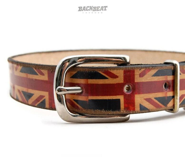 Leather Union Jack Dog Collar