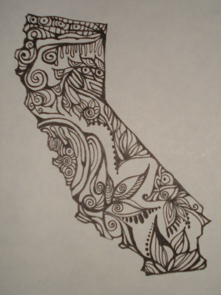 California outline w design interior original drawing by for Ca design