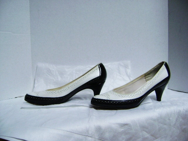 shoes spectator pumps black and white wingtip by